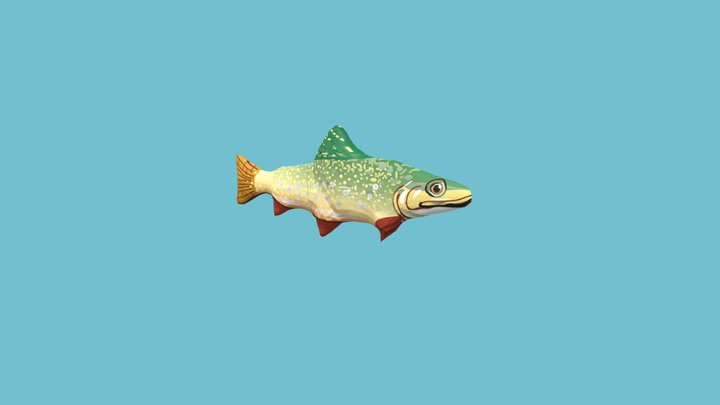 Trout Fish Animated 3D Model