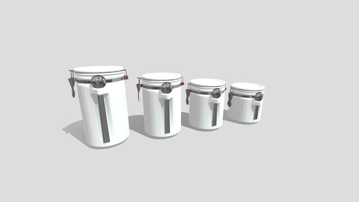 White Gloss Canister Set 3D Model
