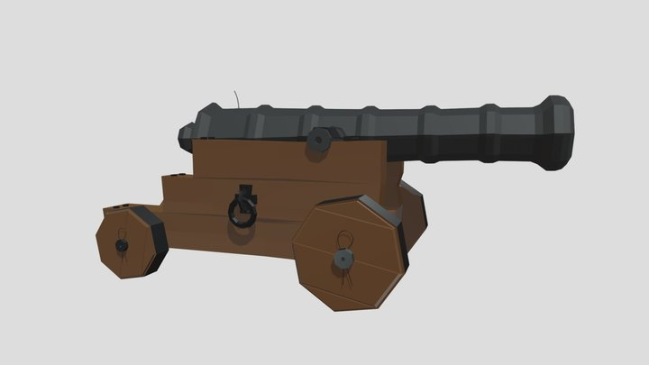Low-Poly Pirate Cannon 3D Model