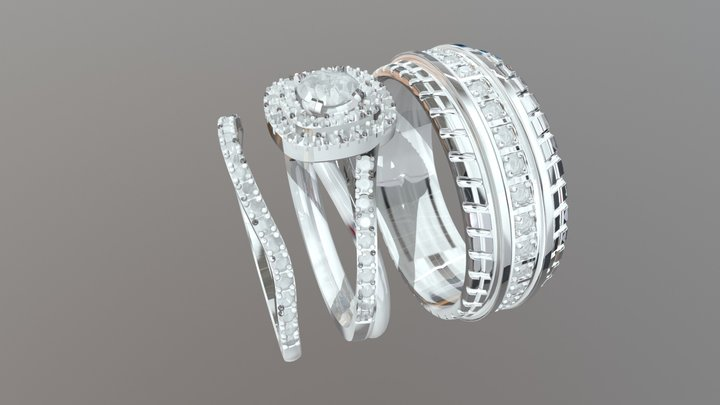 Gold Complete Wedding Set - 04gg80 3D Model