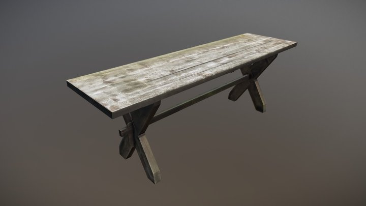 Worn garden table (LowPoly) 3D Model
