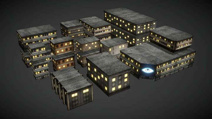 Dystopia City - Buildings 3D Model