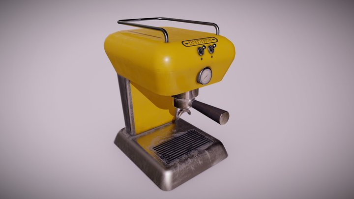 MCN - Midcentury Coffee Machine 02 - Game Ready 3D Model
