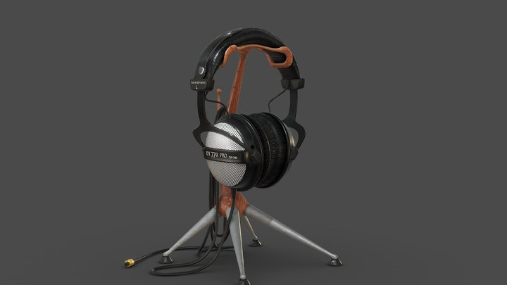 Headphone with stand 3D Model