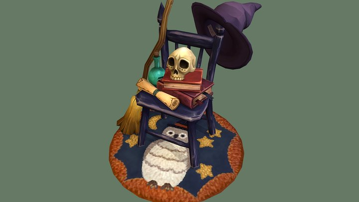 Witch's Chair and Her Props 3D Model