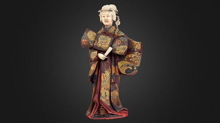 Japanese wood and ivory figure of a Geisha. 3D Model