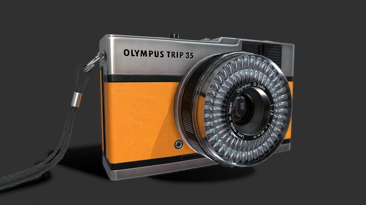 Olympis Trip 35 Camera PBR Low Poly 3D Model