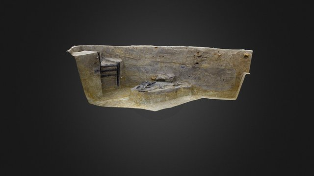 WWI trench with chair and coat 3D Model