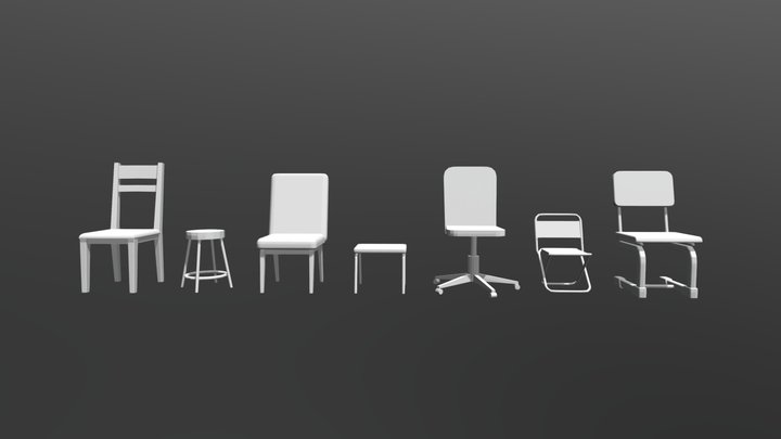 Chairs (Low Poly) 3D Model