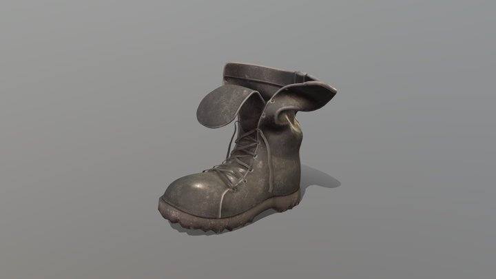 Loose Flapped Neck Combat Boots 3D Model