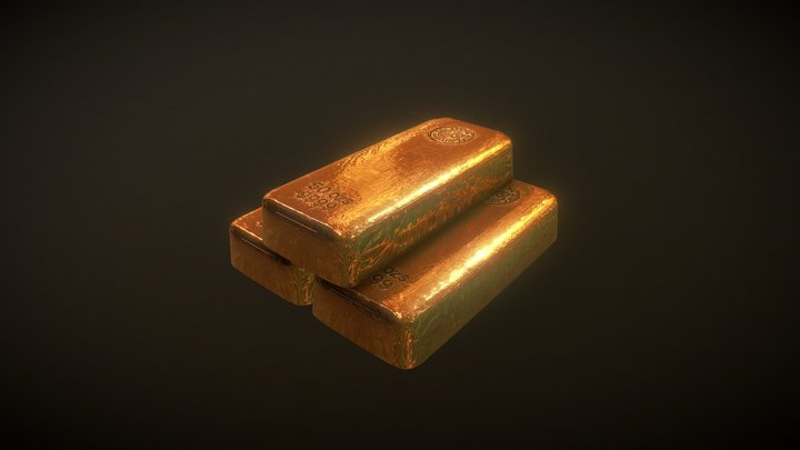 Low Poly Gold Bars 3D Model