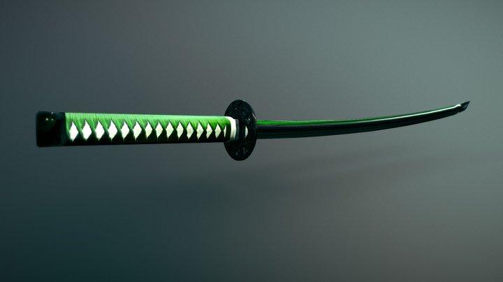 Katana Green Fantasy Katana Low Poly 3D Model