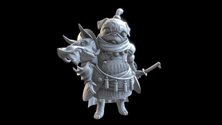 Samurai Pug WIP 3D Model