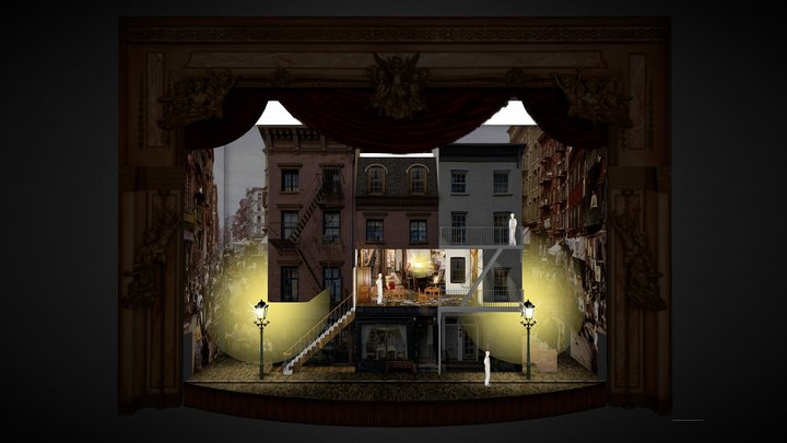 Stage Set for La Bohème Opera 3D Model
