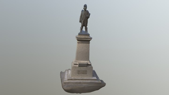Statue of Captain Cook at St Kilda beach 3D Model