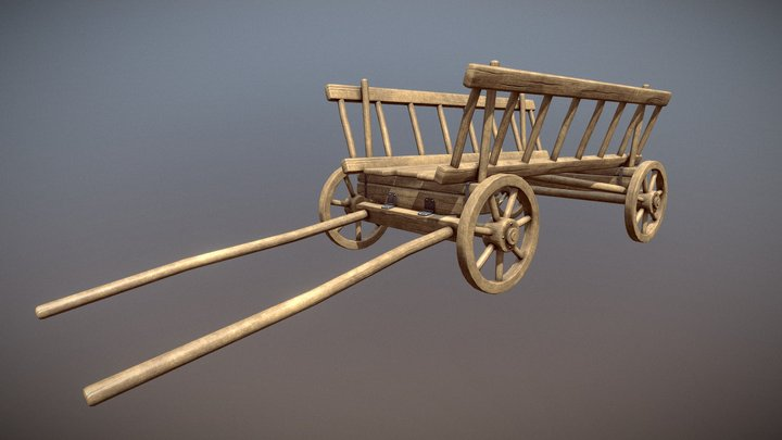 Old dray cart 3D Model