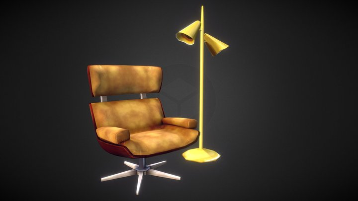 70's armchair and foot lamp 3D Model