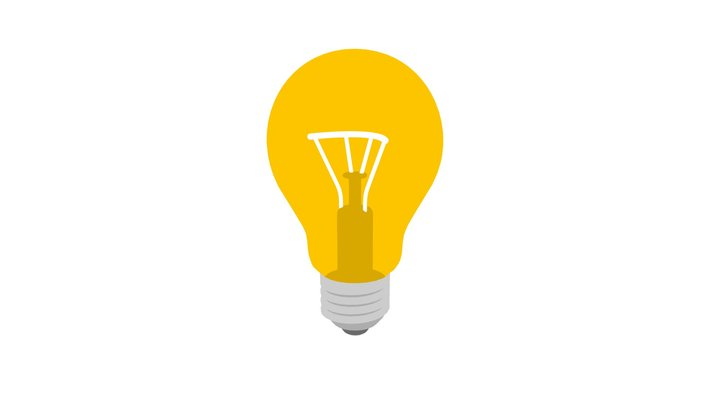 Light Bulb Low Poly Flat Icon Style 3D Model