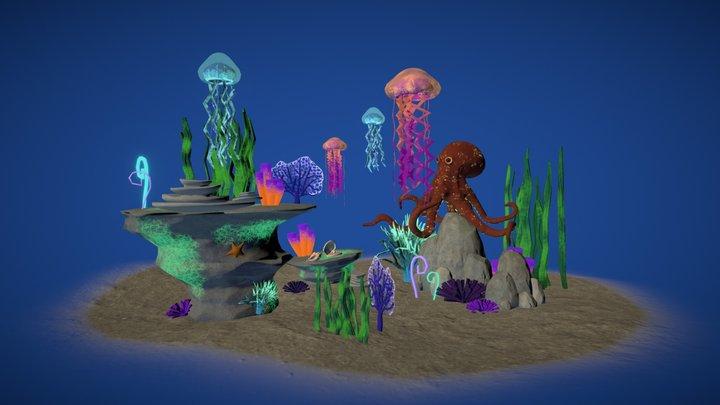Glowy Underwater Environment 3D Model