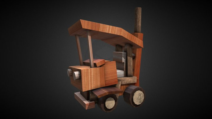 Wooden Toy Car 3D Model