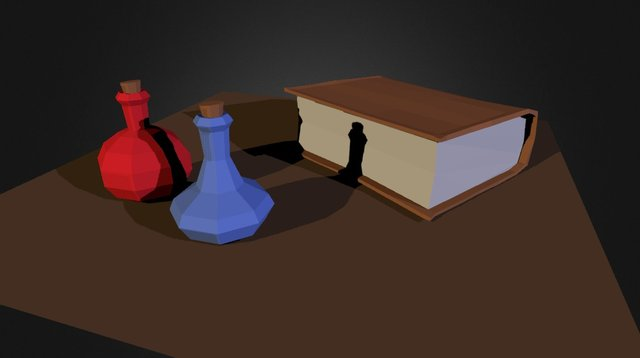 Low-Poly Book and Potions 3D Model