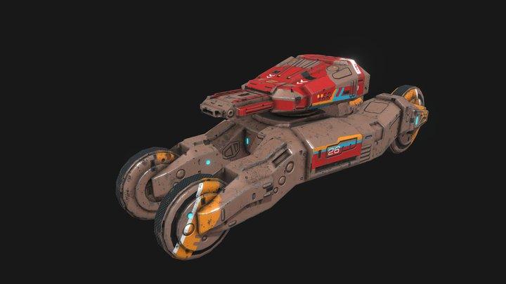 Low poly sci fi speedy tank combat unit 3D Model