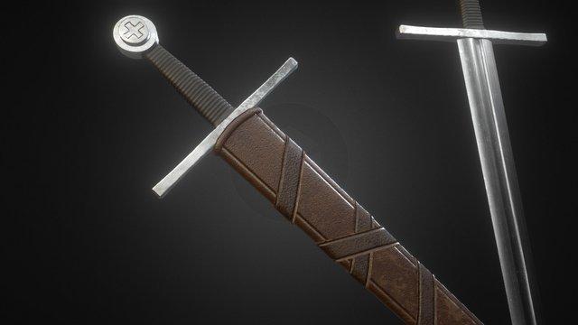 Crusader Sword + Scabbard 3D Model