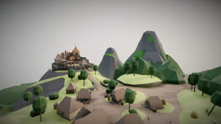 Medieval castle with village 3D Model