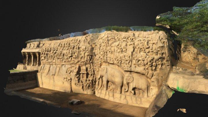 Rock Carvings Mahabalipuram, Tamil nadu India 3D Model