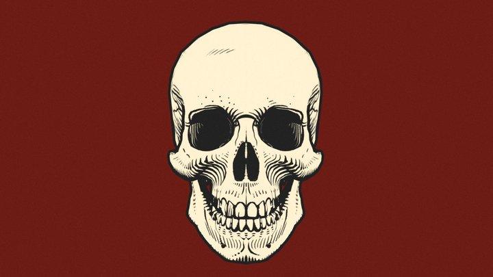 Line Art Skull w/ Outline 3D Model