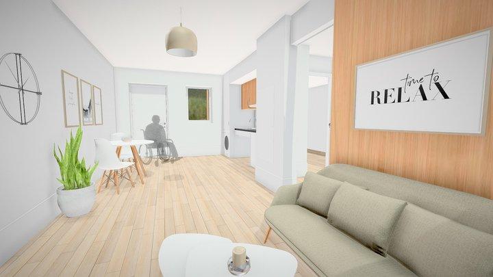 Appartement T2 - Résidences Mobicap Red 3D Model