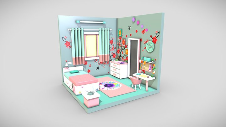 Low Poly Isometric Baby Girl Room 3D Model