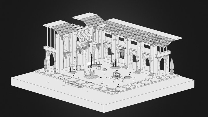 [WIP] Isometric Building [Wireframe Test] 3D Model