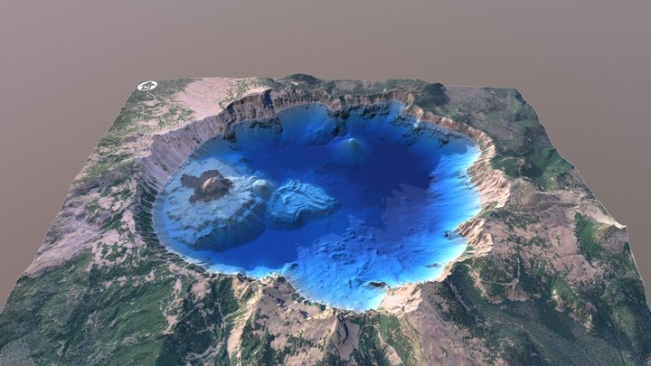 Crater Lake, Oregon - Bathymetry Surface 3D Model