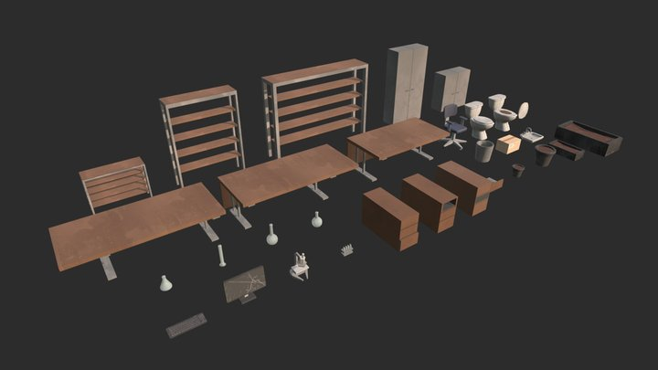 Modular office Interior assets (Post Apoc) 3D Model