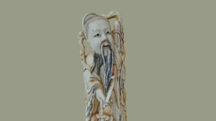 Old ivory little chinese statue 3D Model