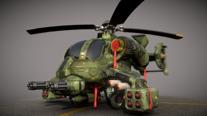 Helicopter prototype BH-500 landing 3D Model