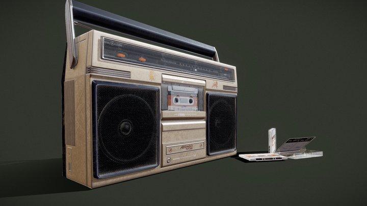 Vintage tape recorder radio 3D Model
