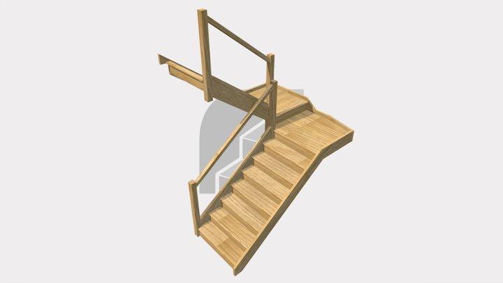 Half Landing Oak Staircase 3D Model