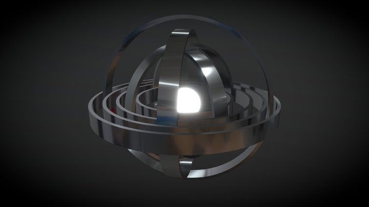 Sphere and rotated rings 3D Model