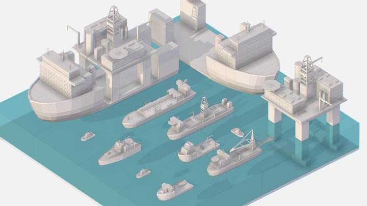 Isometric Big Boat Vessel Drill Ship Platform 3D Model