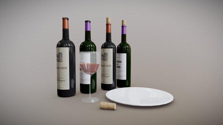 Wine Objects 3D Model