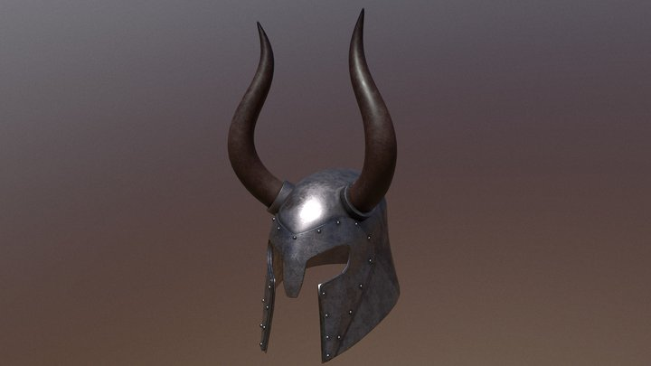 Horned Medieval Helmet 3D Model