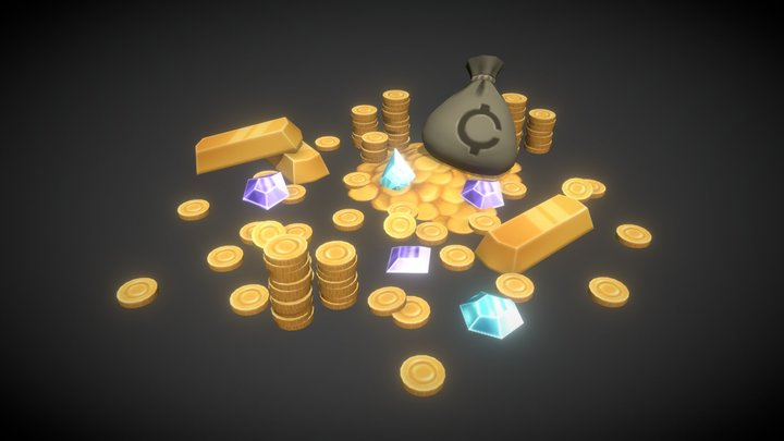 Money Pack - Hand-painted Props 3D Model