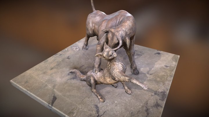 Fight between bull and wolf 3D Model