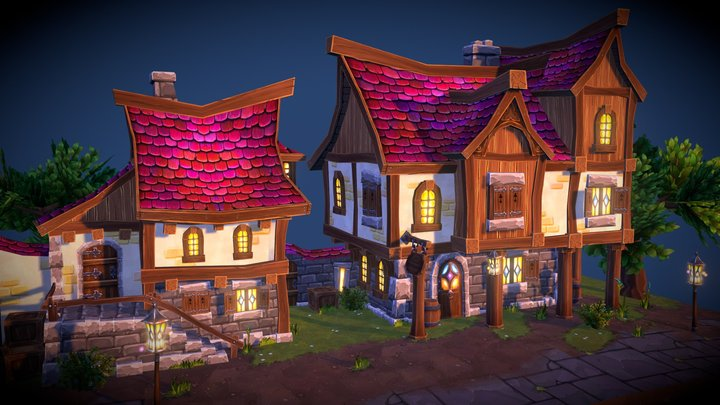 FREE - Fantasy Town 3D Model