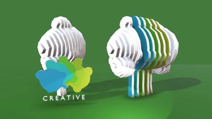 TREE logo design on green background 3D Model