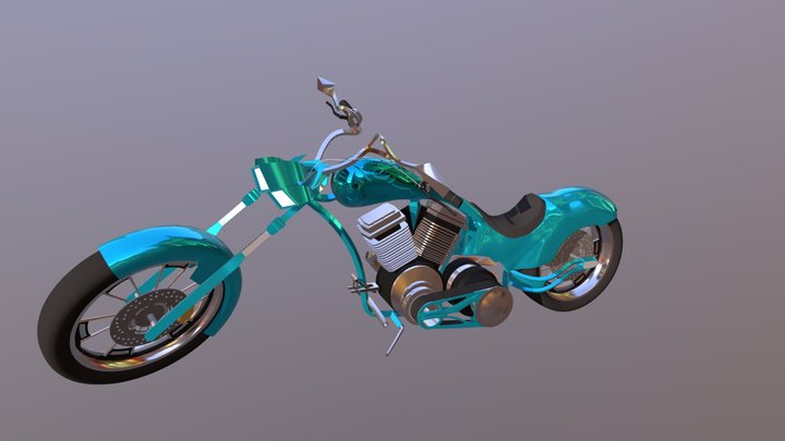 Motorcycle With Paint Job 3D Model