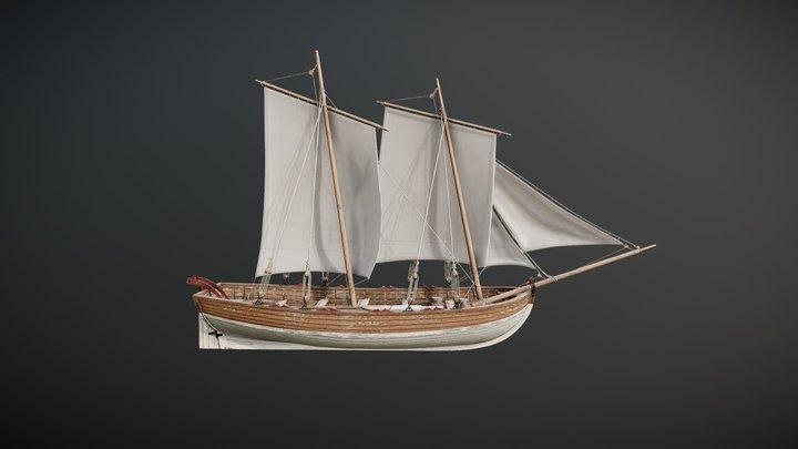 Wooden Sailboat 3D Model