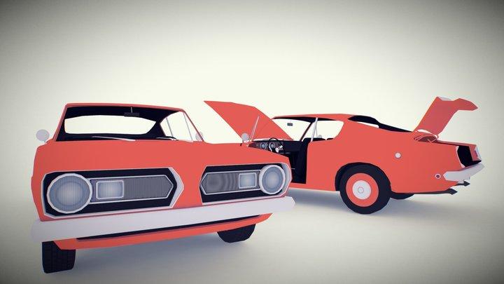Flat Colored Muscle Car 3D Model